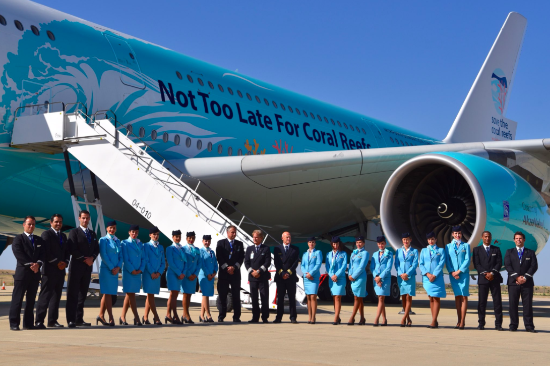 AirBus A380 spreads the message on the plight of coral reefs